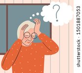 elderly woman with memory loss... | Shutterstock .eps vector #1501887053
