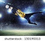 goalkeeper catches the ball .... | Shutterstock . vector #150190313