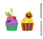 Halloween Cupcake  On White...