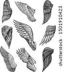 set of angel wings in vintage... | Shutterstock .eps vector #1501910423