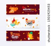 set of autumn fall season sale... | Shutterstock .eps vector #1501925453