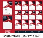 red 2020 wall calendar template ... | Shutterstock .eps vector #1501945460