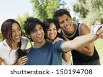 happy young friends taking self ... | Shutterstock . vector #150194708