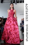 Small photo of New York, NY, USA - September 10, 2019: A model walks runway for the Pamella Roland Spring/Summer 2020 collection during New York Fashion Week at Pier 59 Studios, Manhattan