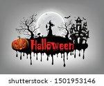 happy halloween background with ...   Shutterstock .eps vector #1501953146