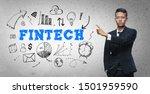 asian businessman pointing ... | Shutterstock . vector #1501959590