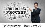 asian businessman pointing ... | Shutterstock . vector #1501959599