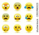 set of minimal cute emoticons.... | Shutterstock .eps vector #1501980323