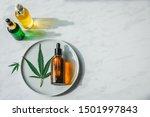 glass bottles with cbd oil  thc ... | Shutterstock . vector #1501997843