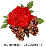orange butterfly with red rose | Shutterstock .eps vector #1502056643