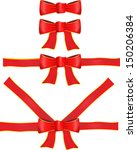 vector red ribbon with bow | Shutterstock .eps vector #150206384