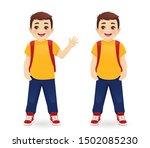 smiling school boy with... | Shutterstock .eps vector #1502085230