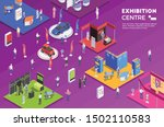 people visiting exhibition...   Shutterstock .eps vector #1502110583
