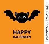 happy halloween. black bat... | Shutterstock .eps vector #1502114663