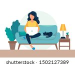 girl with laptop sitting on the ... | Shutterstock .eps vector #1502127389