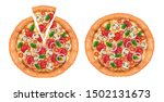 top view of delicious pizza on... | Shutterstock .eps vector #1502131673