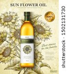sun flower oil ads in 3d... | Shutterstock .eps vector #1502131730