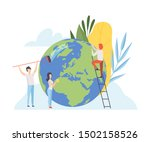 people cleaning the earth... | Shutterstock .eps vector #1502158526