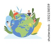 people cleaning the earth... | Shutterstock .eps vector #1502158559