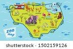 modern zoo map cartoon vector... | Shutterstock .eps vector #1502159126