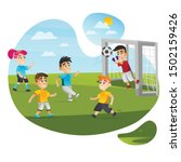 cartoon kid play football game... | Shutterstock .eps vector #1502159426