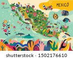 map of mexico with traditional... | Shutterstock .eps vector #1502176610