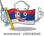 nurse serbia flag flown on... | Shutterstock .eps vector #1502182040
