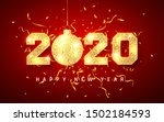 happy new year 2020  gold shiny ... | Shutterstock .eps vector #1502184593