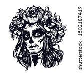 sugar skull  girl. santa muerte ...   Shutterstock .eps vector #1502187419
