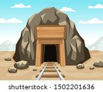 gold mine entrance with rails... | Shutterstock .eps vector #1502201636