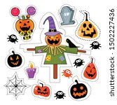 halloween icon sticker patches... | Shutterstock .eps vector #1502227436