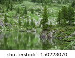 lake and pine forest in taiga.... | Shutterstock . vector #150223070