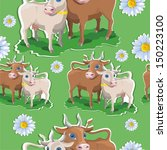pattern with daisies and cows | Shutterstock .eps vector #150223100