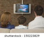 rear view of family watching... | Shutterstock . vector #150223829