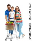 Happy Family With Shopping Cart ...