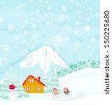 winter landscape   girls on... | Shutterstock .eps vector #150225680