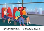 people reading in bus flat... | Shutterstock .eps vector #1502275616