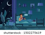 Stock vector man texting at night flat vector illustration guy in bed sending messages chatting online 1502275619