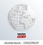 3d white relief world globe ... | Shutterstock .eps vector #150229619