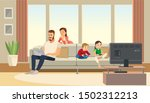 family at home. mother care... | Shutterstock . vector #1502312213