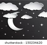 paper moon on dark sky with... | Shutterstock .eps vector #150234620