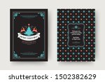christmas greeting card vintage ... | Shutterstock .eps vector #1502382629