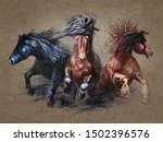 Horses Watercolor Painting...