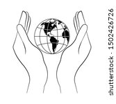 hands hold the earth. thin line....   Shutterstock .eps vector #1502426726