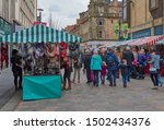Small photo of Perth, Scotland - 7th April 2018: The High Street in Perth at the Farmers Market which is held every other weekend in Springtime. Perthshire, Scotland.