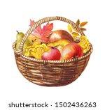 Watercolor Basket Of Mushrooms  ...