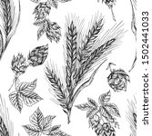 seamless pattern botany hand... | Shutterstock .eps vector #1502441033