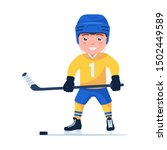 boy hockey player is ice... | Shutterstock .eps vector #1502449589