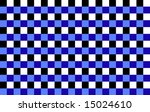 A checkerboard pattern of blue, white and black squares - stock photo