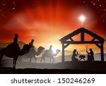 christmas nativity scene with... | Shutterstock .eps vector #150246269